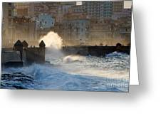 Waves Crashing Against The Sea Wall Of Greeting Card