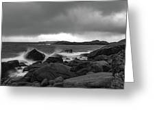 Waves Hitting The Rocks Greeting Card