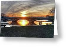 Weeks Bridge At Sunset Greeting Card by Wayne Marshall Chase