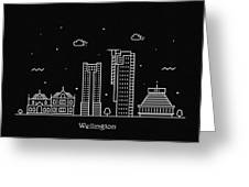 Wellington Skyline Travel Poster Greeting Card
