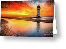 Welsh Lighthouse Sunset Greeting Card by Adrian Evans