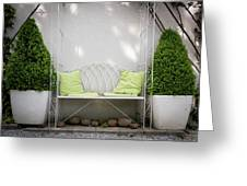 White Bench Made Of Iron With Two Green Bushes On The Side Greeting Card