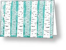 White Birch And Snow Greeting Card