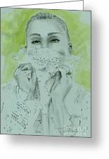 White Lace And Green Eyes Greeting Card