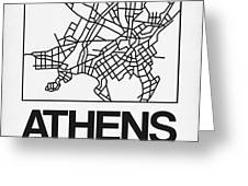 White Map Of Athens Greeting Card
