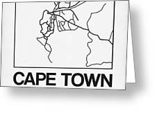 White Map Of Cape Town Greeting Card