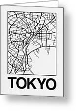 White Map Of Tokyo Greeting Card