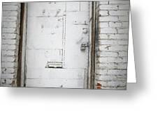 White Steel Factory Door Chinatown Washington Dc Greeting Card by Edward Fielding