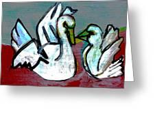 White Swans Greeting Card