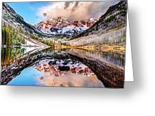 Wide Angle Maroon Bells Panoramic Landscape Greeting Card by Gregory Ballos