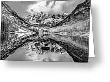 Wide Angle Maroon Bells Panoramic Landscape - Monochrome Greeting Card by Gregory Ballos