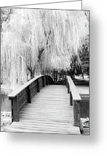 Willow Tree Over The Bridge Greeting Card