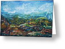 Windy Day In The Grassland. Original Oil Painting Impressionist Landscape. Greeting Card