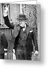 Winston Churchill Showing The V Sign Greeting Card