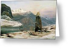Winter At The Sognefjord - Digital Remastered Edition Greeting Card