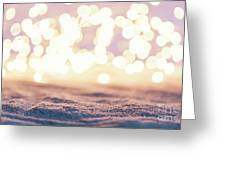 Winter Background With Snow And Fairy Lights. Greeting Card