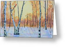 Winter Birches-cardinal Left Greeting Card