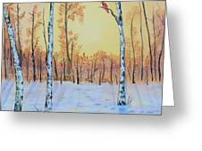 Winter Birches-cardinal Right Greeting Card