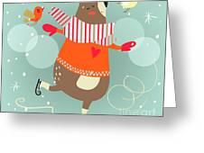 Winter Cartoon Bear Greeting Card