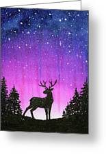 Winter Forest Galaxy Reindeer Greeting Card
