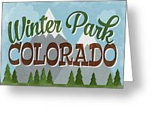Winter Park Colorado Retro Mountains Greeting Card