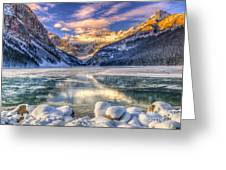 Winter Sunrise Over Scenic Lake Louse Greeting Card