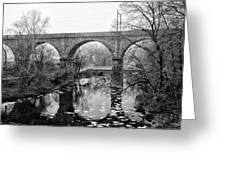Wissahickon Creek - Reading Viaduct In Black And White Greeting Card