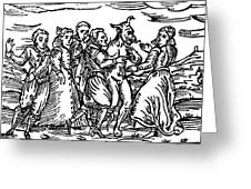Witches Dancing With The Devil, Illustration From Compendium Maleficarum Greeting Card