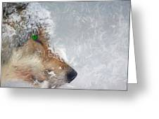 Wolf In The Snowstorm - Painting Greeting Card