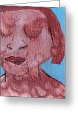 Woman And Blue Background Greeting Card