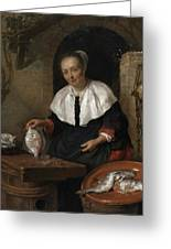 Woman Cleaning Fish Greeting Card