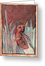 Woman In Reeds Greeting Card