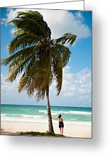 Woman Observing Caribbean Sea On Sandy Greeting Card