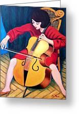 Woman Playing Cello - Bereny Robert Study Greeting Card