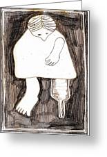 Woman With A Wooden Leg Drawing Greeting Card