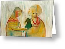 Women Holding A Bird Greeting Card
