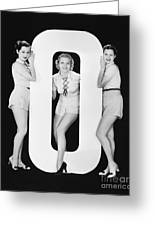 Women Posing With Huge Letter O Greeting Card