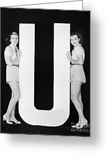 Women Posing With Huge Letter U Greeting Card