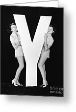 Women Posing With Huge Letter Y Greeting Card