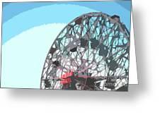 Wonder Wheel On Blue Greeting Card