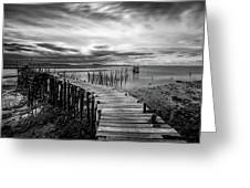 Wooden Fishing Piers Greeting Card by Michalakis Ppalis
