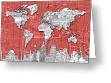 World Map Landmarks Skyline 3 Greeting Card