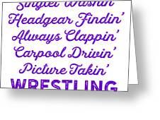 Wrestling Singlet Washin Mom Purple Gift Dark Greeting Card
