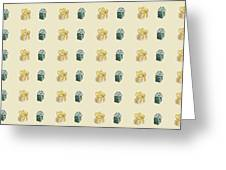 Yellow And Green Present Pattern Greeting Card