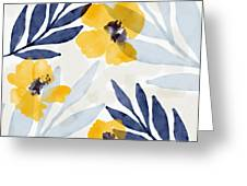 Yellow And Navy 1- Floral Art By Linda Woods Greeting Card