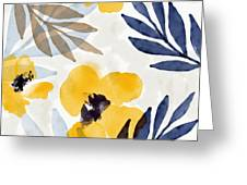 Yellow And Navy 3- Floral Art By Linda Woods Greeting Card