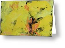 Yellow Blooms Coral Accents Greeting Card