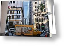 Yellow Graffiti Truck Downtown La Greeting Card