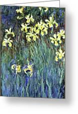 Yellow Irises - Digital Remastered Edition Greeting Card