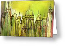 Yellow Mosque  Greeting Card by Nizar MacNojia